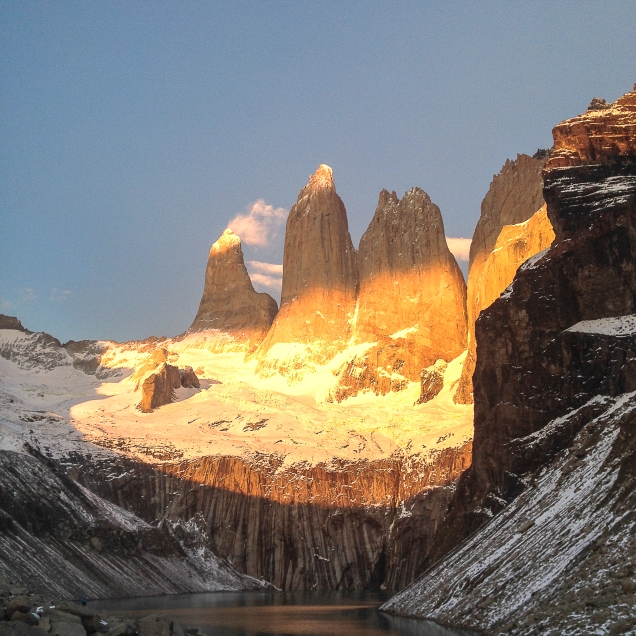 Sunrise at Torres Del Paine. Magallanes, Chilean Patagonia.